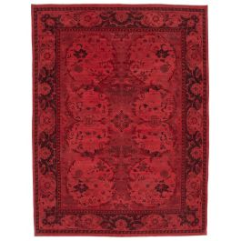 Hand-knotted Turkish Red Low Pile Large Colorful Rug