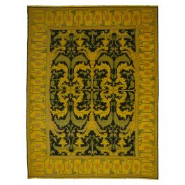 Hand-knotted Anatolian Yellow Antique Large Overdyed Rug