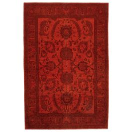 Hand-knotted Anatolian Red Distressed Large Colorful Rug