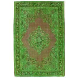 Handwoven Turkish Green Traditional Large Colorful Rug