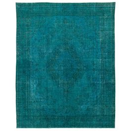 Hand-knotted Anatolian Turquoise Rustic Large Overdyed Rug
