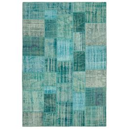 Handmade Oriental Turquoise One-of-a-Kind Patchwork Rug