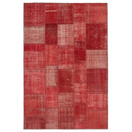 Handwoven Turkish Red Over-dyed Patchwork Rug