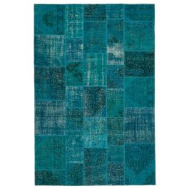 Hand-knotted Anatolian Blue Rustic Patchwork Carpet