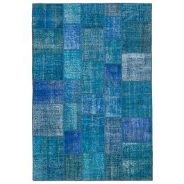 Hand-knotted Turkish Blue Unique Patchwork Rug