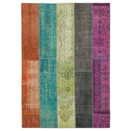 Hand-knotted Turkish Multi Low Pile Patchwork Carpet
