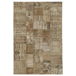 Hand-knotted Anatolian Brown Wool Patchwork Rug