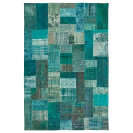 Hand-knotted Oriental Turquoise Faded Patchwork Carpet