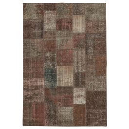 Handwoven Turkish Brown Over-dyed Patchwork Rug