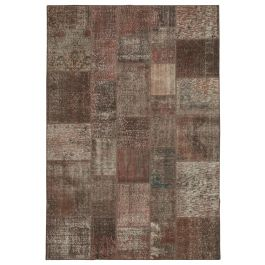 Hand-knotted Anatolian Brown Rustic Patchwork Carpet