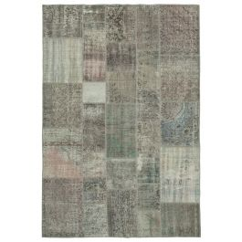 Hand-knotted Turkish Grey Colorful Patchwork Carpet