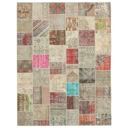 Hand-knotted Turkish Beige Bohemian Large Patchwork Carpet