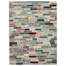Hand-knotted Turkish Multi Low Pile Large Patchwork Carpet