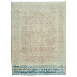Hand-knotted Anatolian Beige Rustic Large Vintage Rug