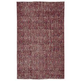 Hand-knotted Anatolian Red Wool Vintage Rug