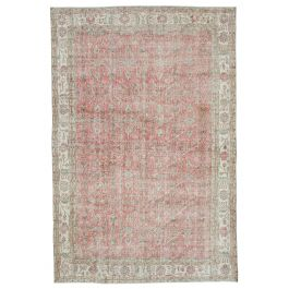 Hand-knotted Anatolian Beige Wool Vintage Rug