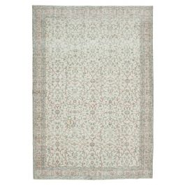 Hand-knotted Anatolian Beige Distressed Vintage Carpet