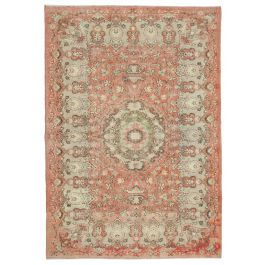 Hand-knotted Turkish Red Contemporary Vintage Carpet