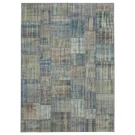 Handwoven Anatolian Blue Rustic Large Patchwork Rug