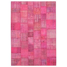 Hand-knotted Anatolian Pink Rustic Large Patchwork Carpet