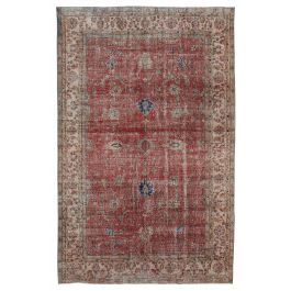 Hand-knotted Anatolian Red Rustic Vintage Carpet
