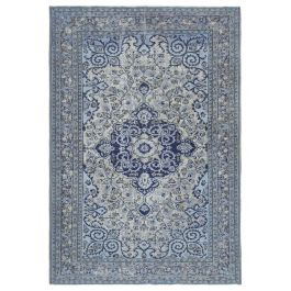 Handmade Turkish Blue Low Pile Over-dyed Rug
