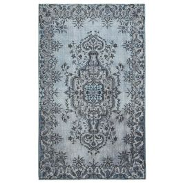 Handwoven Anatolian Grey Distressed Carved Rug