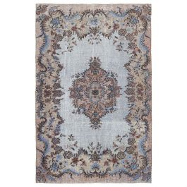 Hand-knotted Anatolian Blue Distressed Carved Carpet