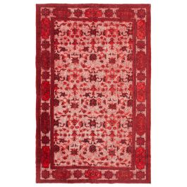 Handmade Oriental Red One-of-a-Kind Over-dyed Rug