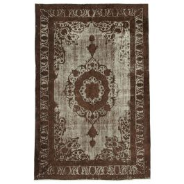 Handmade Turkish Brown Unique Over-dyed Carpet