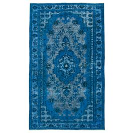 Handwoven Turkish Blue Contemporary Overdyed Rug