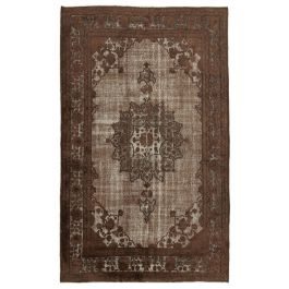 Hand-knotted Turkish Brown Boho Carved Rug