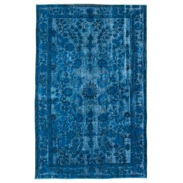 Hand-knotted Turkish Blue Bohemian Overdyed Carpet