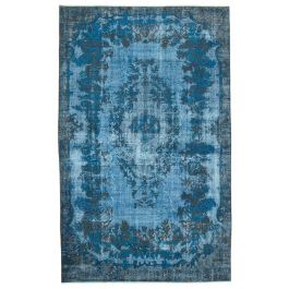 Handwoven Oriental Blue Faded Overdyed Carpet