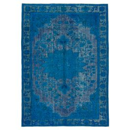 Hand-knotted Anatolian Blue Wool Carved Rug