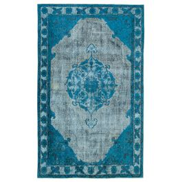 Hand-knotted Oriental Blue Traditional Carved Carpet