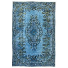 Handmade Oriental Blue Faded Over-dyed Carpet