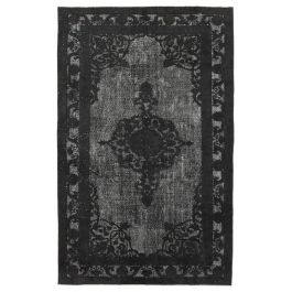 Hand-knotted Anatolian Black Distressed Carved Carpet