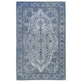 Handwoven Turkish Blue Traditional Carved Rug
