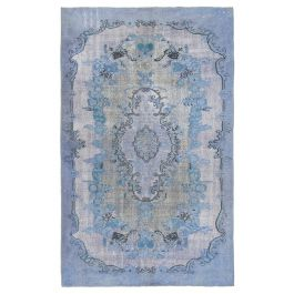 Hand-knotted Anatolian Blue Rustic Overdyed Carpet