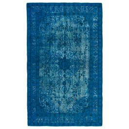 Hand-knotted Oriental Blue Decorative Overdyed Rug