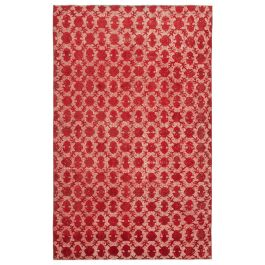 Handwoven Oriental Red One-of-a-Kind Carved Rug