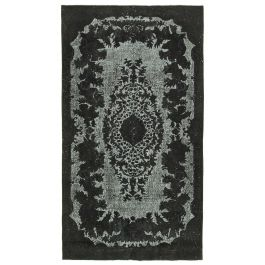 Hand-knotted Turkish Black Unique Overdyed Rug