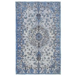 Handwoven Anatolian Blue Distressed Carved Carpet