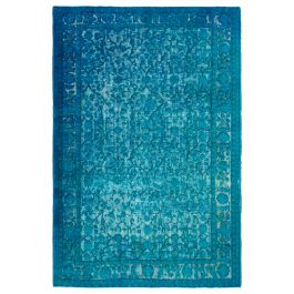 Handmade Anatolian Turquoise Rustic Over-dyed Carpet