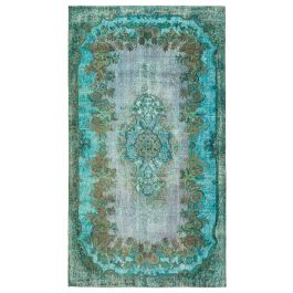 Handmade Turkish Turquoise Contemporary Over-dyed Carpet