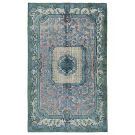 Handwoven Turkish Blue Low Pile Overdyed Rug