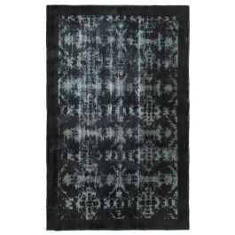 Hand-knotted Turkish Black Contemporary Overdyed Carpet
