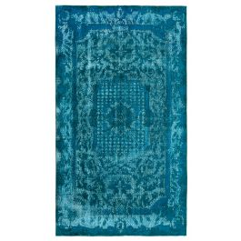 Handwoven Turkish Turquoise Traditional Carved Rug