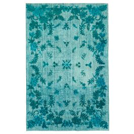 Handmade Turkish Turquoise Unique Over-dyed Carpet